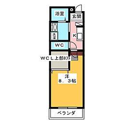 ルチェーレ宮ヶ崎 2階1Kの間取り