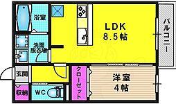 ARPEGE頌徳B棟 1階1LDKの間取り