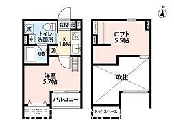 メゾンブラン北野田[1階]の間取り