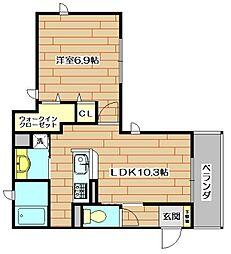 大阪府茨木市元町の賃貸アパートの間取り