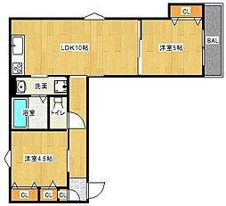 Osaka Metro谷町線 大日駅 徒歩10分の賃貸アパート 1階2LDKの間取り