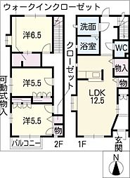 [タウンハウス] 愛知県名古屋市天白区梅が丘3丁目 の賃貸【愛知県 / 名古屋市天白区】の間取り