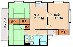 清水タウンA棟[3階]の間取り