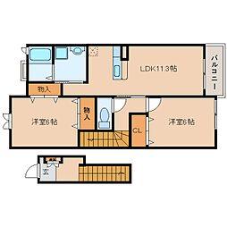奈良県五條市釜窪町の賃貸アパートの間取り