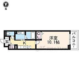 京都市営烏丸線 十条駅 徒歩6分の賃貸マンション 1階1Kの間取り