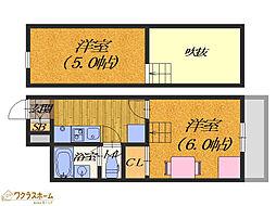 大阪府堺市堺区錦綾町3丁の賃貸アパートの間取り