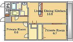 Osaka Metro谷町線 千林大宮駅 徒歩6分の賃貸マンション 2階2LDKの間取り