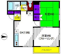 東京都立川市柴崎町3丁目の賃貸アパートの間取り