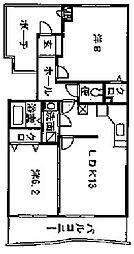神奈川県厚木市戸室3丁目の賃貸マンションの間取り