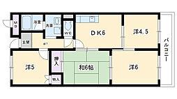 大阪府豊中市赤阪1丁目の賃貸マンションの間取り