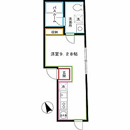 西武新宿線 新井薬師前駅 徒歩5分の賃貸マンション 3階ワンルームの間取り