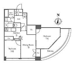 東京メトロ有楽町線 月島駅 徒歩6分の賃貸マンション 26階2DKの間取り