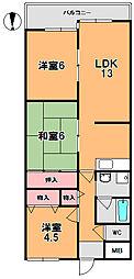 キャピタル新大宮[4階]の間取り