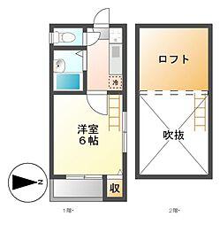 タウンコート栄生[2階]の間取り