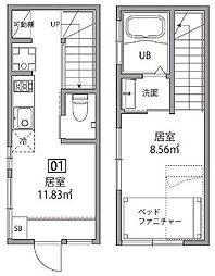東京都中野区中野1丁目の賃貸アパートの間取り