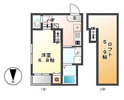 愛知県名古屋市中村区藤江町3丁目の賃貸アパートの間取り