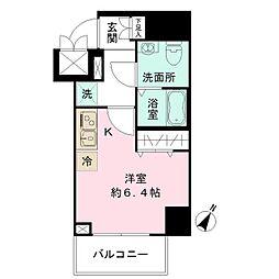 JR中央線 豊田駅 徒歩2分の賃貸マンション 11階ワンルームの間取り