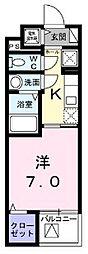 シェモワ 八尾 2階1Kの間取り