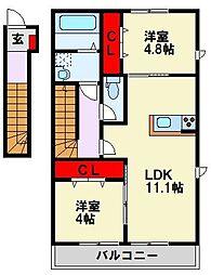 筑豊電気鉄道 楠橋駅 徒歩7分の賃貸アパート 2階2LDKの間取り