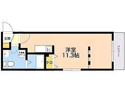 シュルーク アナーカ大濠 4階ワンルームの間取り