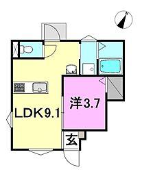 ヴェルグレーヴィア堀江プレミアム 1階1LDKの間取り