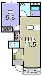 ff(フォルティシモ) 1階1LDKの間取り