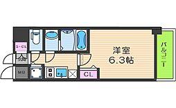 レオンコンフォート阿波座西 4階1Kの間取り