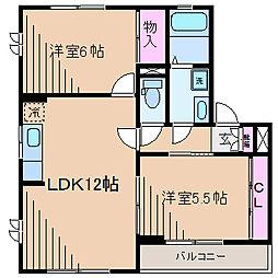 神奈川県横浜市都筑区東方町の賃貸アパートの間取り