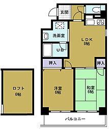 K-COURT市岡[5階]の間取り