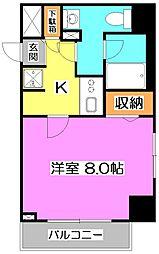 スクエアシティ東京保谷 1階1Kの間取り