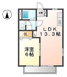 愛知県清須市春日砂賀東の賃貸アパートの間取り