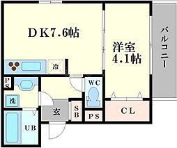 生野区桃谷d-room 1階1DKの間取り