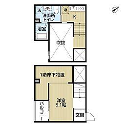 愛知県名古屋市南区宝生町3丁目の賃貸アパートの間取り