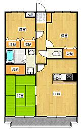 サンツヤマモトB[2階]の間取り