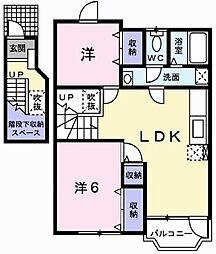 兵庫県加古川市平岡町高畑の賃貸アパートの間取り