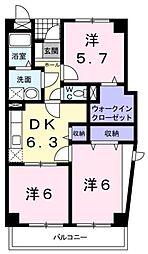 広島県福山市南蔵王町2丁目の賃貸マンションの間取り
