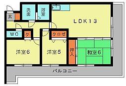 ファミール1(筒井)[4階]の間取り