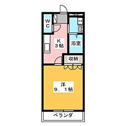 静岡県御殿場市新橋の賃貸マンションの間取り