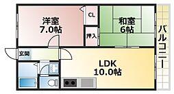 コスモハイツ六甲[1階]の間取り