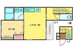 西武新宿線 西武柳沢駅 徒歩17分の賃貸アパート 2階1LDKの間取り
