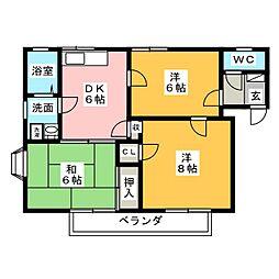 コーポルークワットA[2階]の間取り