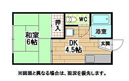 福岡県北九州市小倉北区原町2丁目の賃貸アパートの間取り