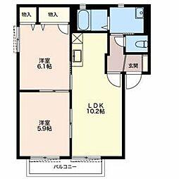 メゾンシャンティ B[2階]の間取り