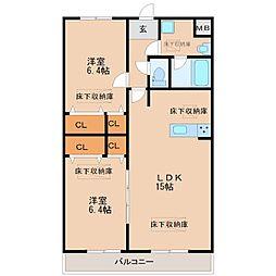 ルネスコート NEW R[1階]の間取り