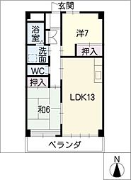 パークサイドマンション奥野[2階]の間取り