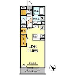 JR山陽本線 下関駅 徒歩26分の賃貸アパート 2階ワンルームの間取り
