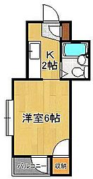 シャトレ藤田 2階1Kの間取り