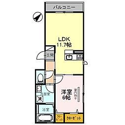 南海高野線 中百舌鳥駅 徒歩5分の賃貸アパート 2階1LDKの間取り