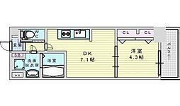 Osaka Metro御堂筋線 西中島南方駅 徒歩2分の賃貸マンション 6階1DKの間取り