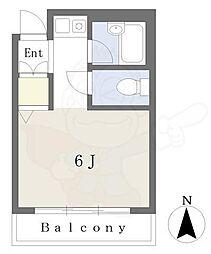 Osaka Metro谷町線 谷町六丁目駅 徒歩4分の賃貸アパート 2階ワンルームの間取り